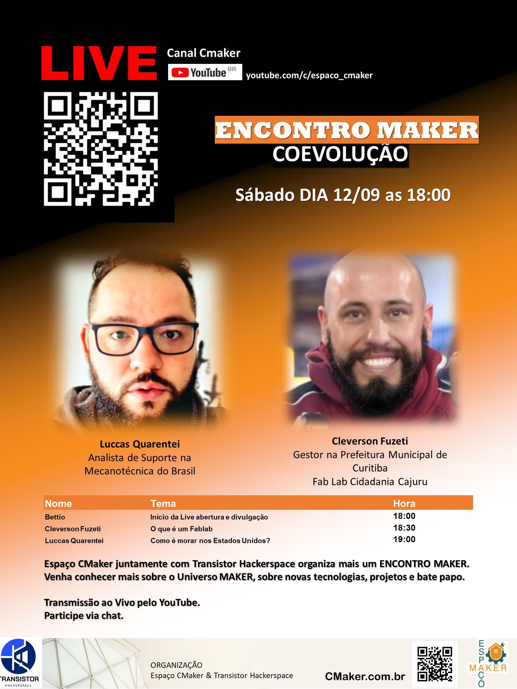 Live Espaço CMaker 12/09 18:00